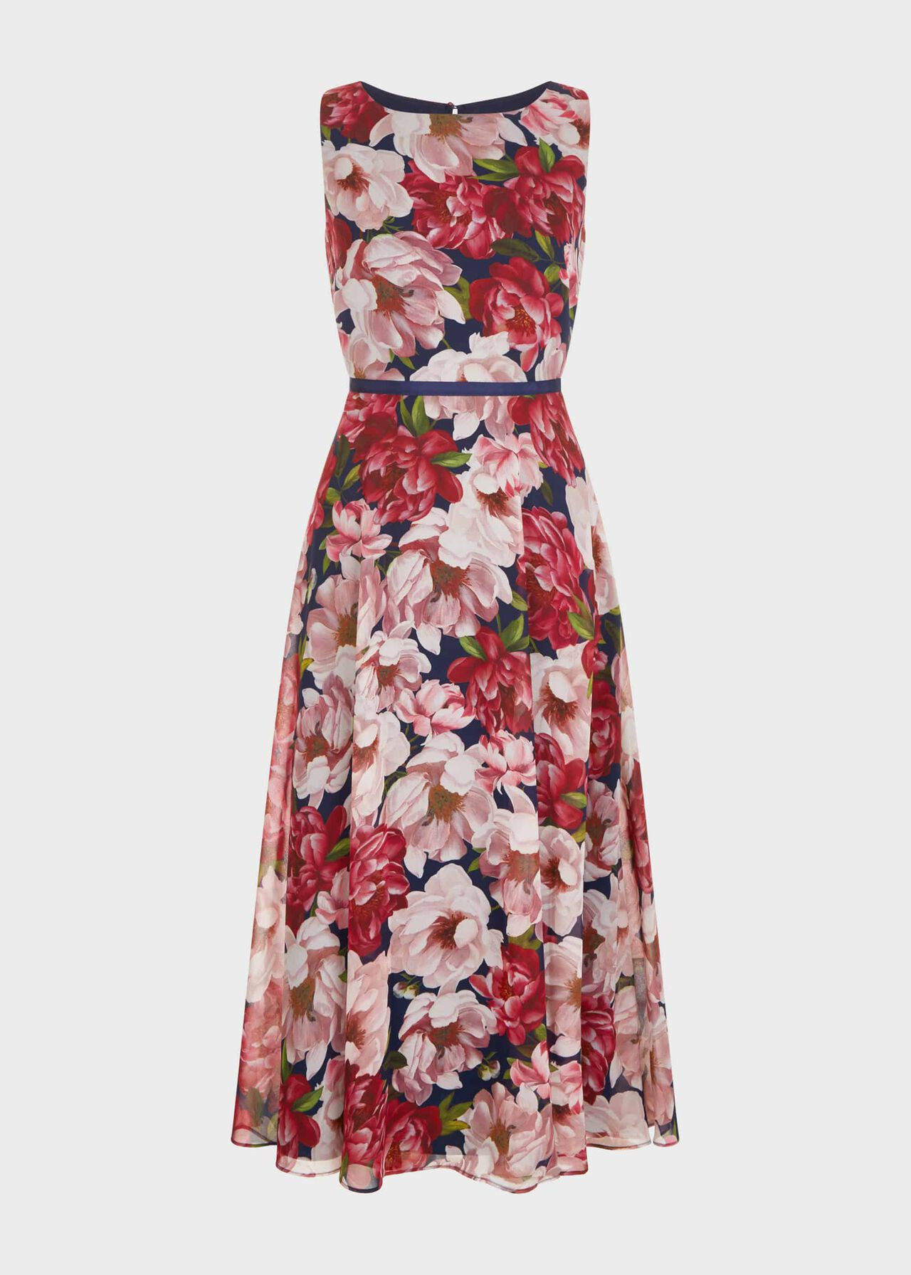 Carly Floral Midi Dress Peony Pink