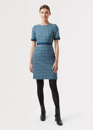 Elodie Wool Dress, Kingfisher Mult, hi-res