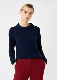 Audrey Wool Cashmere Sweater, Navy, hi-res