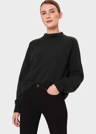 Annabel Funnel Neck Sweater With Wool, Pine Green, hi-res