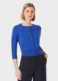 Paula Cotton Blend Cardigan, Blue, hi-res