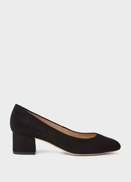 Natalie Wide Fit Suede Block Heel Court Shoes, Black, hi-res