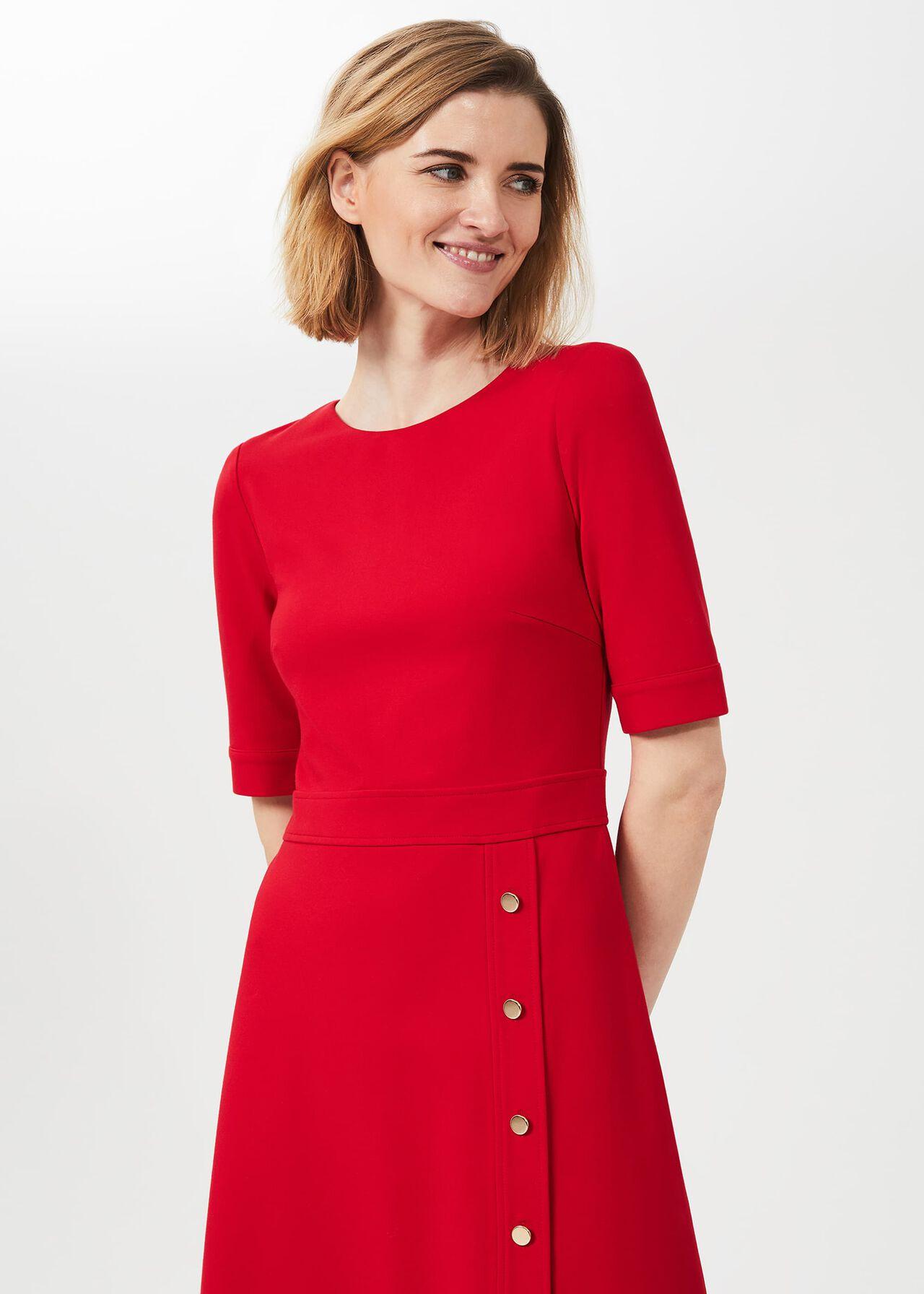 Anela Jersey Dress, Flag Red, hi-res