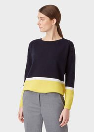 Sofia Wool Blend Stripe Sweater, Navy Yellow, hi-res
