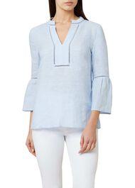 Maudie Linen Top, Soft Blue, hi-res