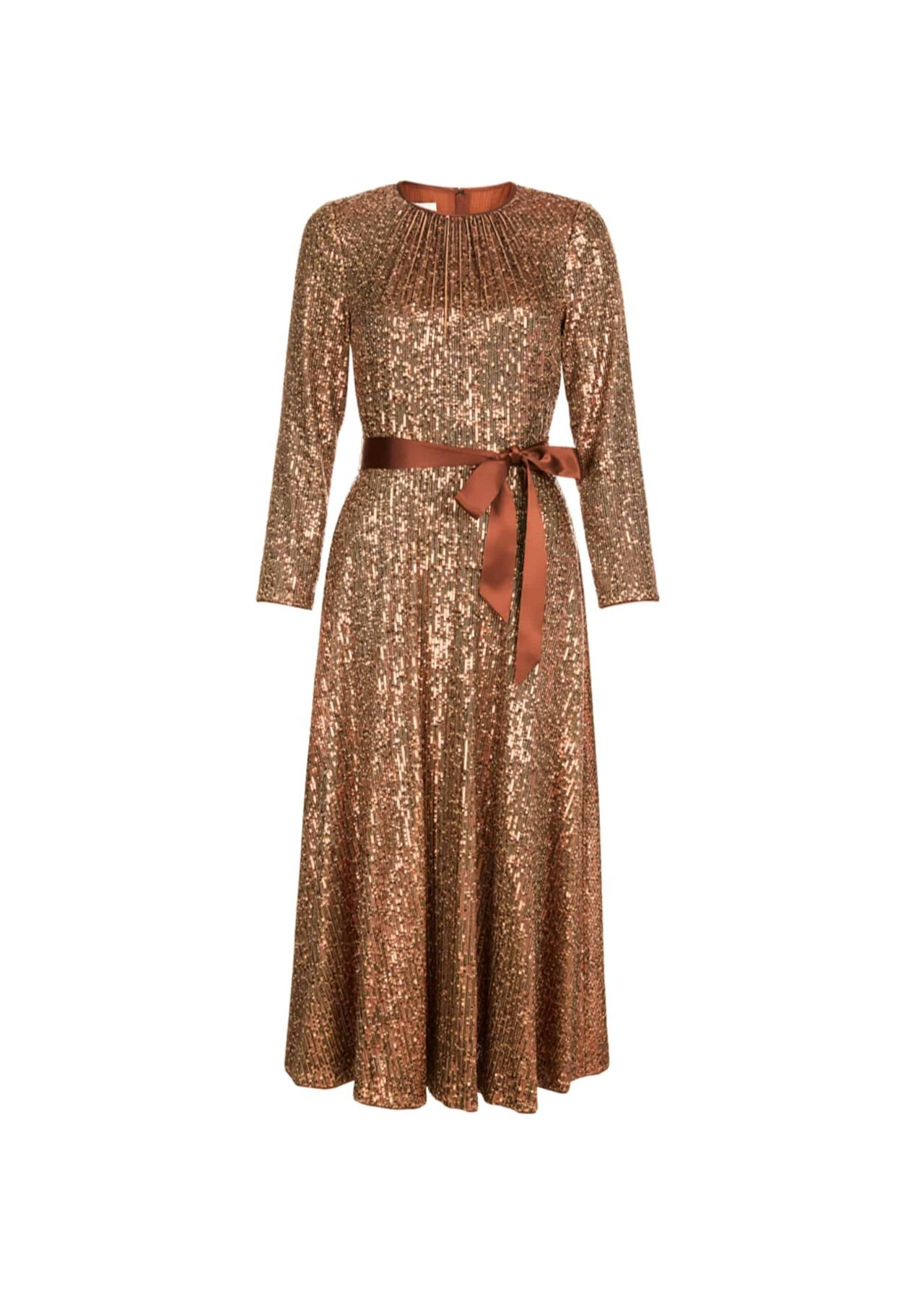 Salma Sequin Fit And Flare Dress Copper