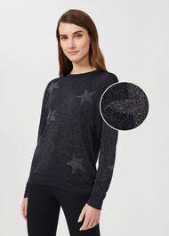 Deborah Sparkle Star Sweater, Navy Silver, hi-res