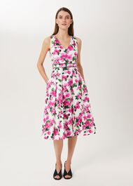 Olivia Cotton Blend Dress, Ivory Fuchsia, hi-res