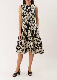 Twitchill Linen Dress, Ecru Black, hi-res