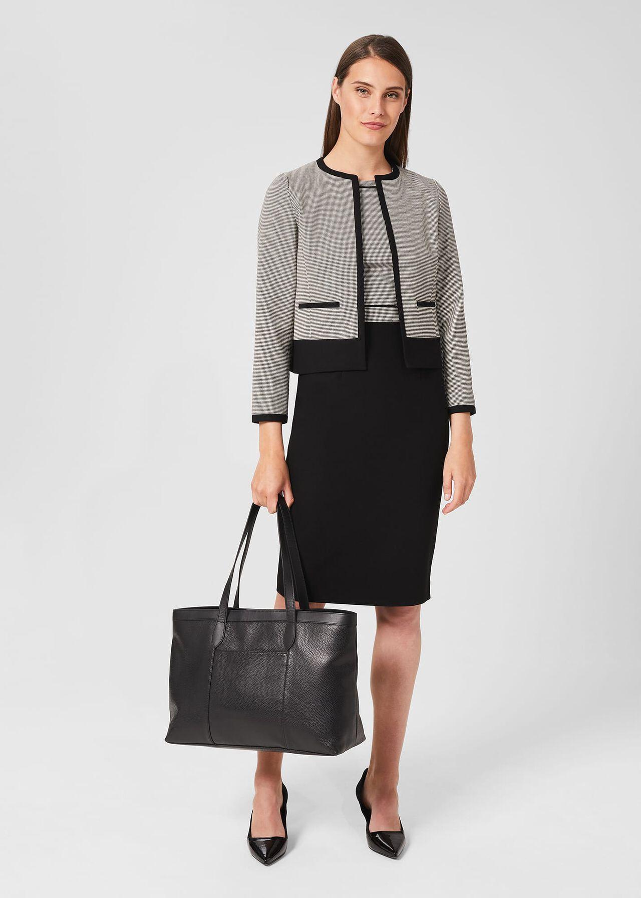 Sienna Houndstooth Shift Dress, Black Ivory, hi-res