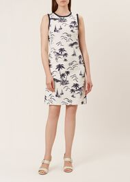 Elinor Dress, Ivory Navy, hi-res