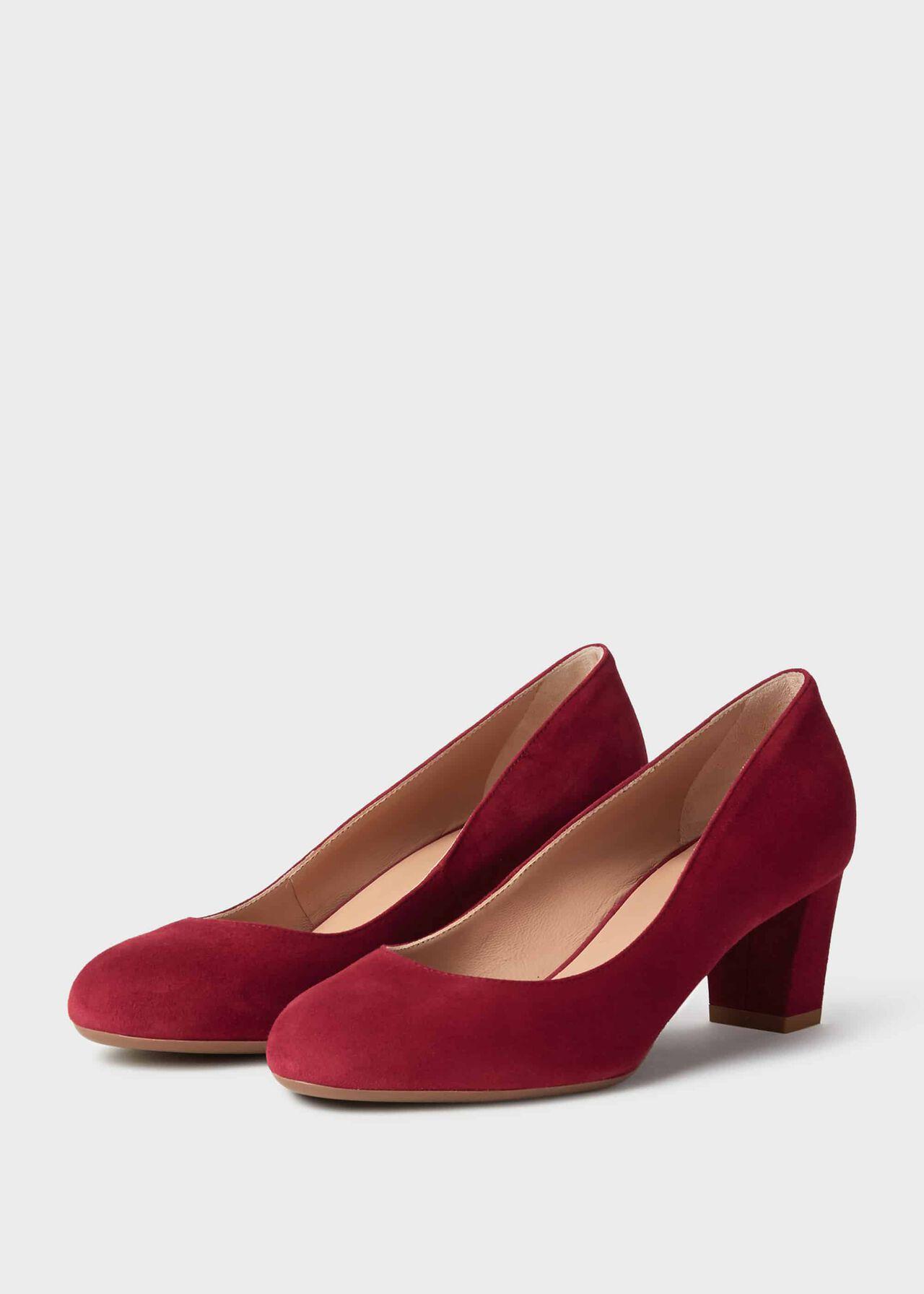 Amber Suede Block Heel Court Shoes Dark Cherry