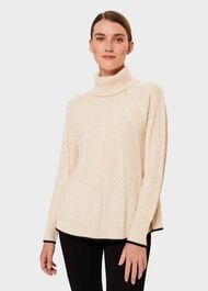 Demi Cable Sweater With Wool, Oatmeal Navy, hi-res