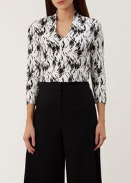 Aimee Printed Top, White Black, hi-res