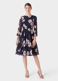 Norah Floral Fit And Flare Dress, Midnight Blush, hi-res