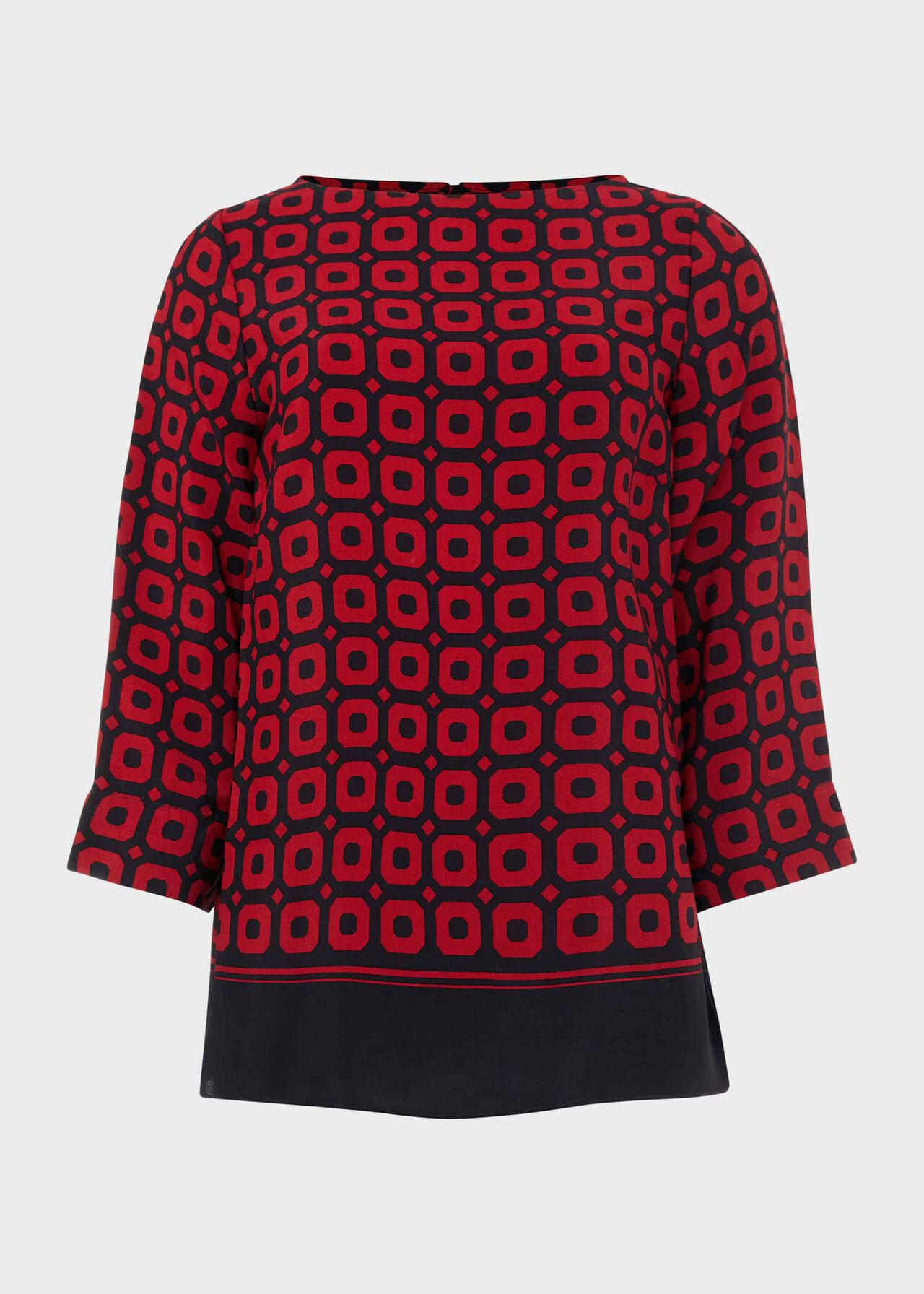 Marcia Geo Crew Neck Blouse, Red Navy, hi-res