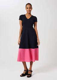 Evangeline Jersey Colourblock Midi Dress, Navy Rouge Pink, hi-res
