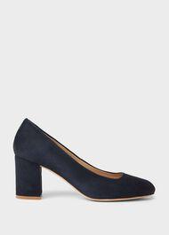 Lucy Wide Fit Suede Block Heel Court Shoes, Navy, hi-res