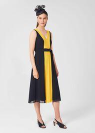 Lila V Neck Midi Dress, Navy Yellow, hi-res