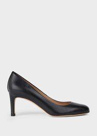 Lizzie Leather Stiletto Court Shoes, Black, hi-res