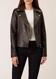Thea Leather Jacket, Chocolate, hi-res