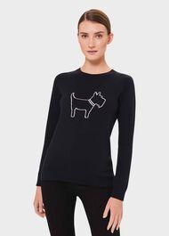 Katy Cotton Sweater, Navy Ivory, hi-res