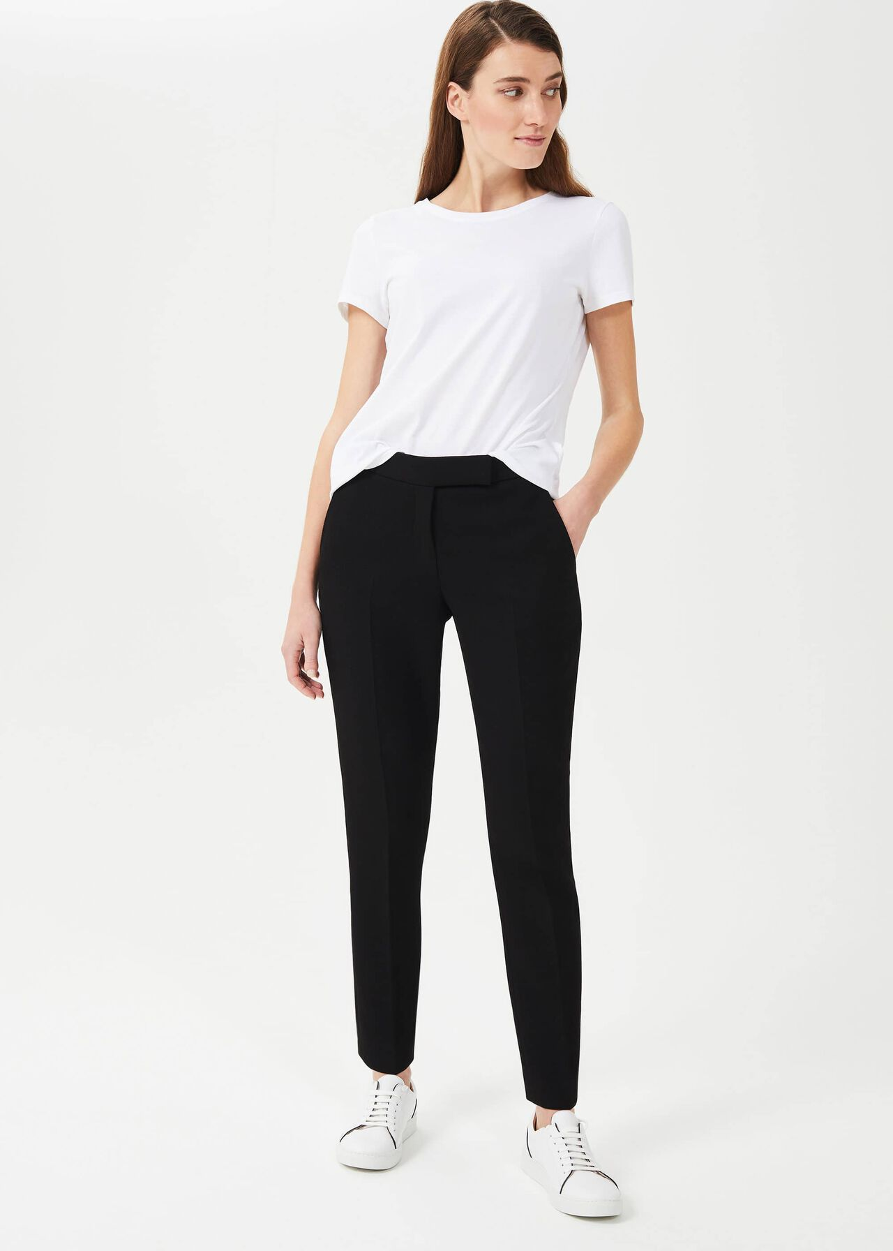 Petite Ophelia Slim Trousers With Stretch, Black, hi-res