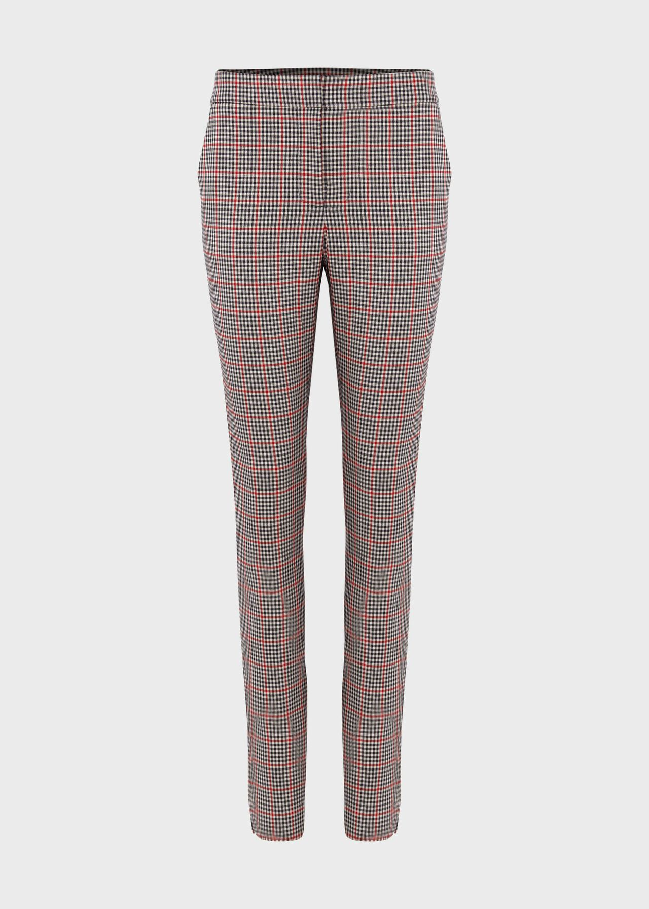 Annie Check Slim Trouser With Stretch Red Black