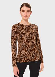 Pamela Cotton Animal Print Sweater, Camel Black, hi-res