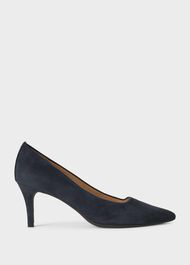 Amy Suede Court Shoes, Navy, hi-res