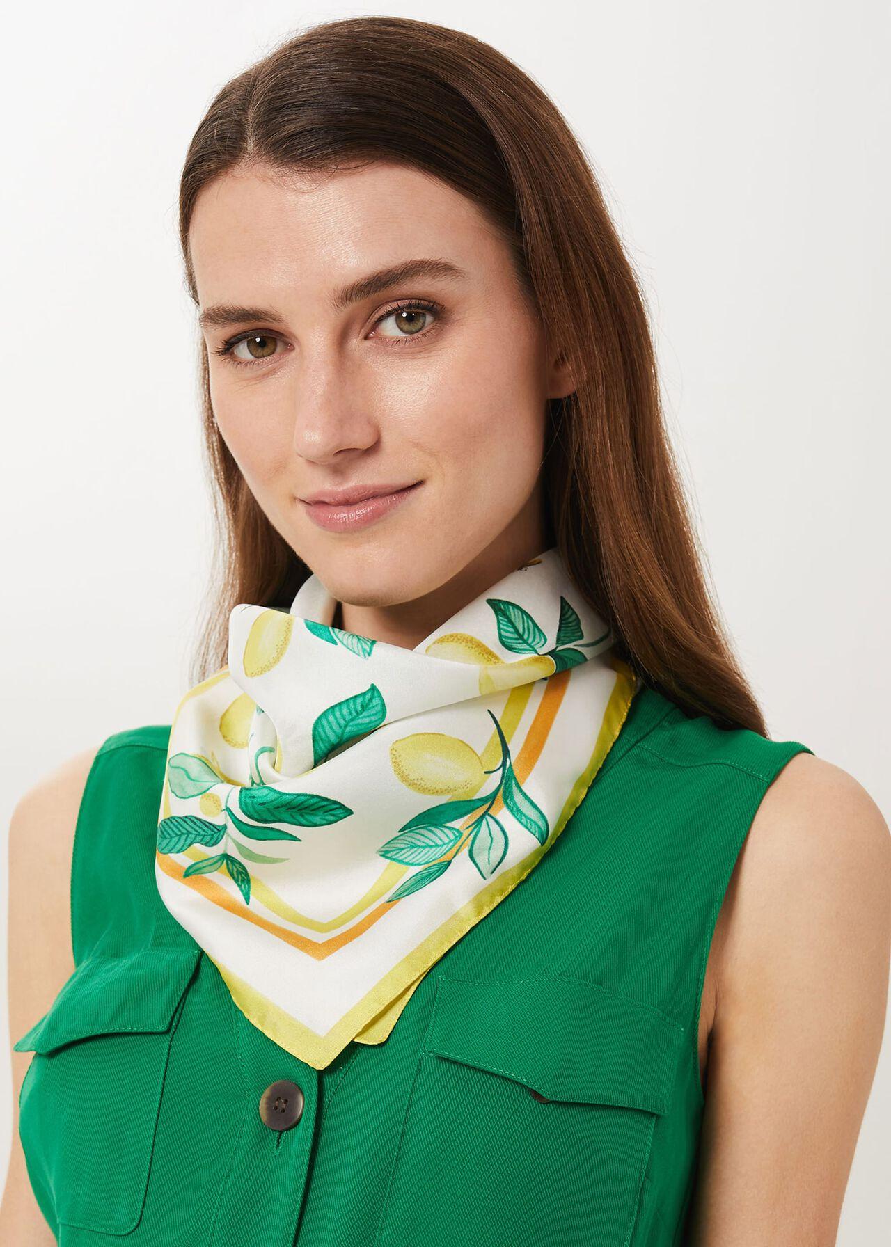Kiara Silk Scarf , Ivory Yellow, hi-res