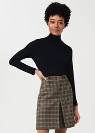 Genevieve Wool Check A Line Skirt, Camel Multi, hi-res