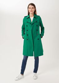Saskia Water Resistant Trench Coat, Green, hi-res