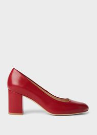 Lucy Wide Fit Leather Block Heel Court Shoes, Red, hi-res