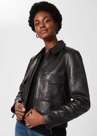 Elise Leather Jacket , Black, hi-res