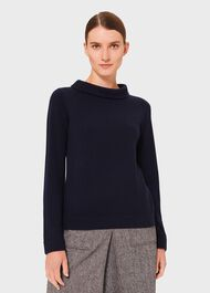 Audrey Wool Cashmere Sweater, Midnight Navy, hi-res