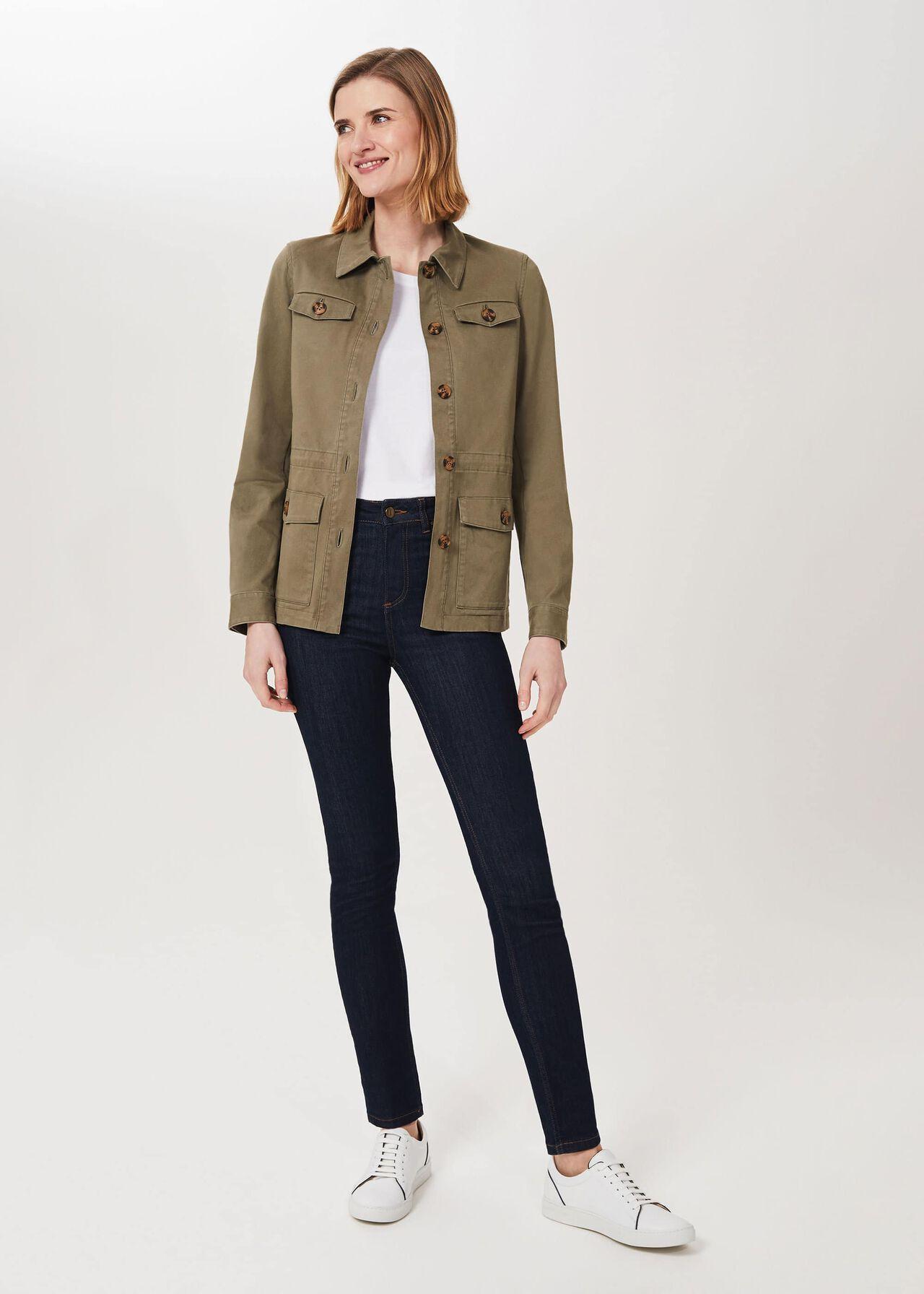 Macy Cotton Blend Jacket, Khaki, hi-res