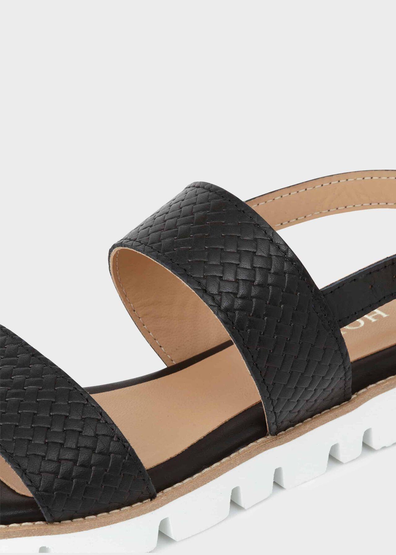 Katie Leather Sandals, Black, hi-res