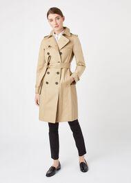 Petite Saskia Trench Coat, Mocha, hi-res