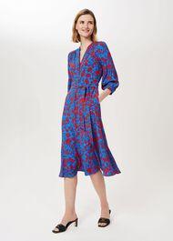 Petite Carla Floral Midi Dress, Red Azure Blue, hi-res