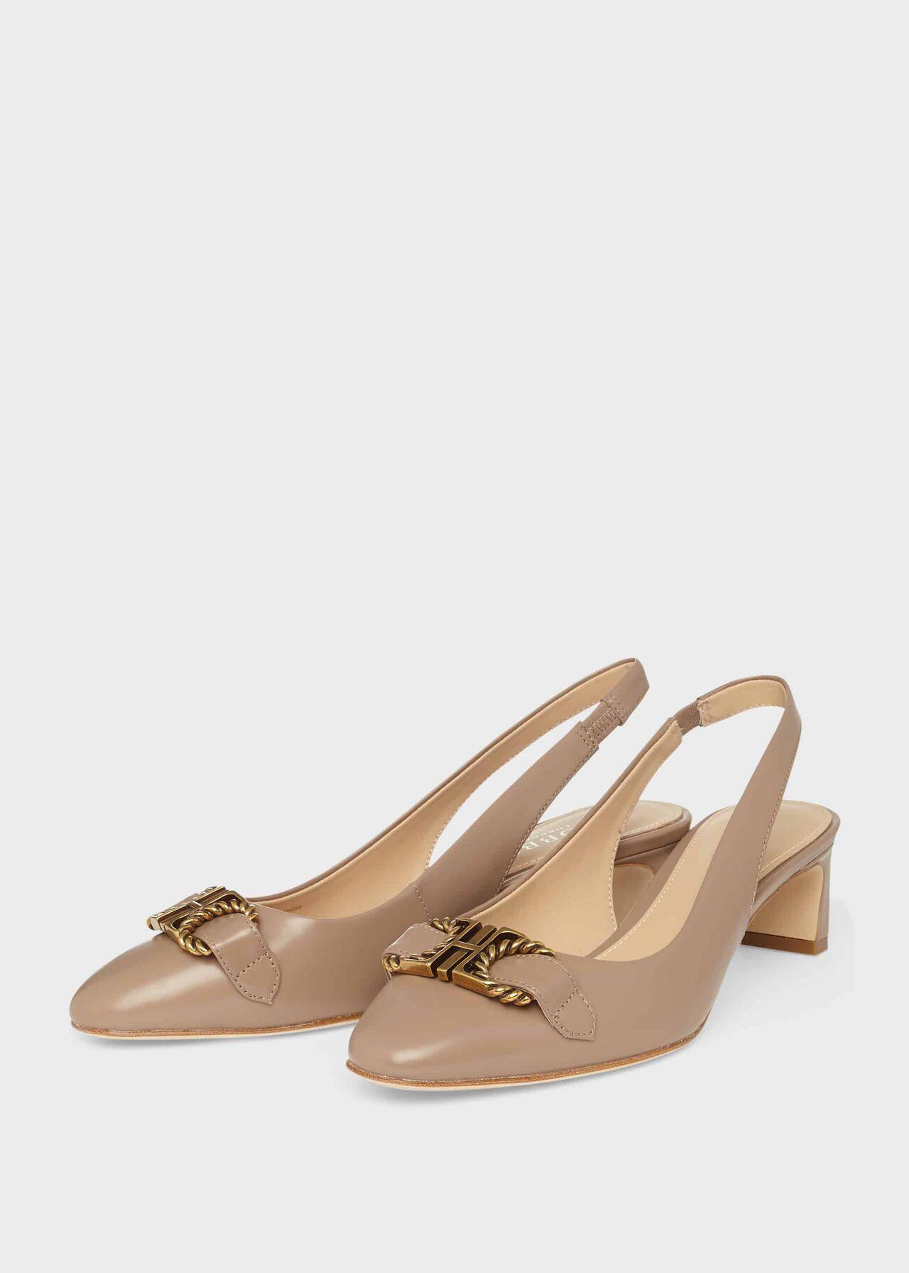 Phoebe Leather Block Heel Slingback Fawn