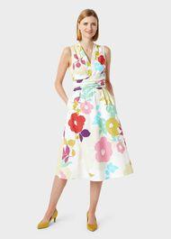 Marie Floral Midi Dress, White Multi, hi-res