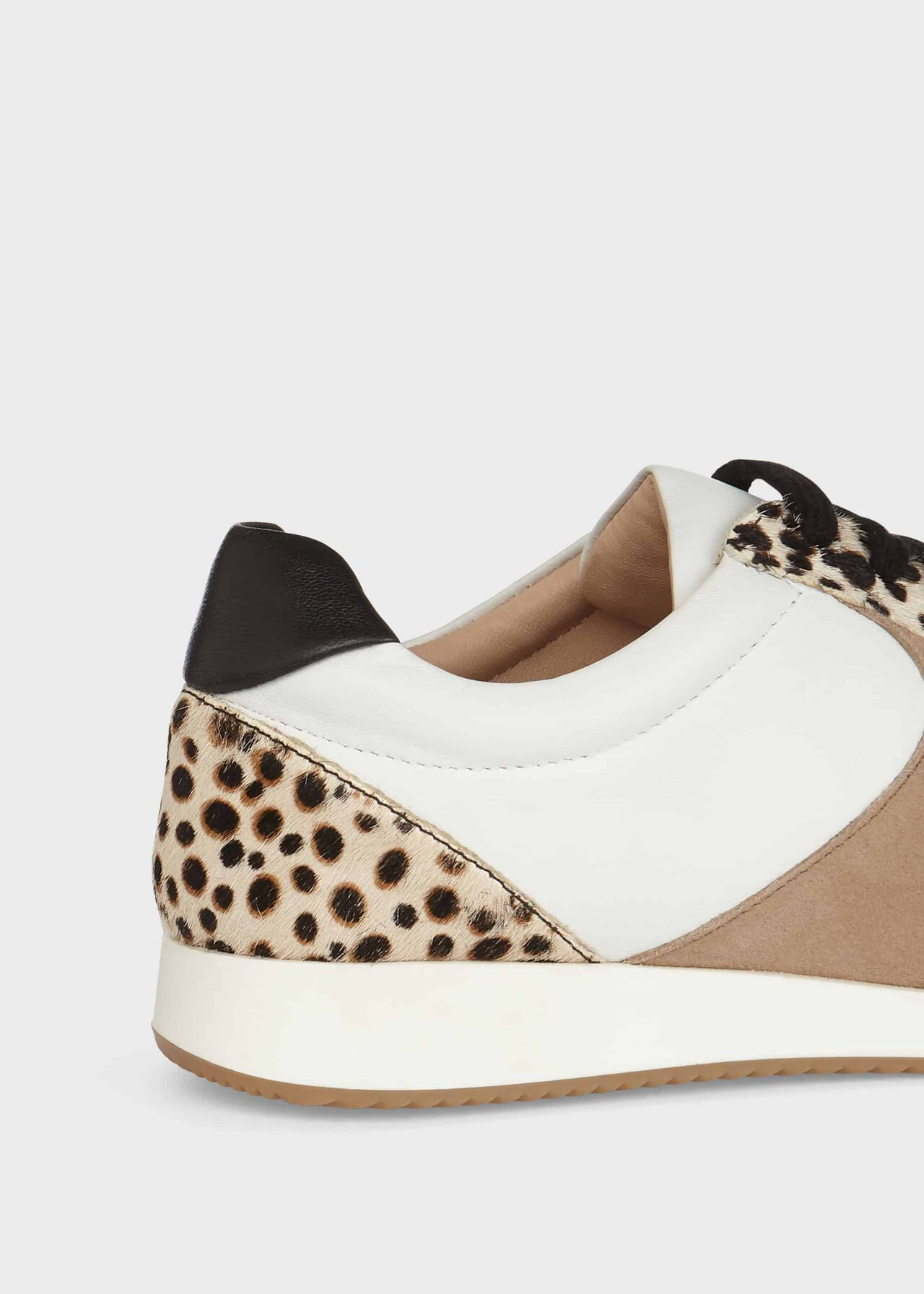 Mara Leopard Print Leather Trainers, White, hi-res