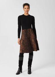 Hallie Knitted Dress, Black Brown, hi-res