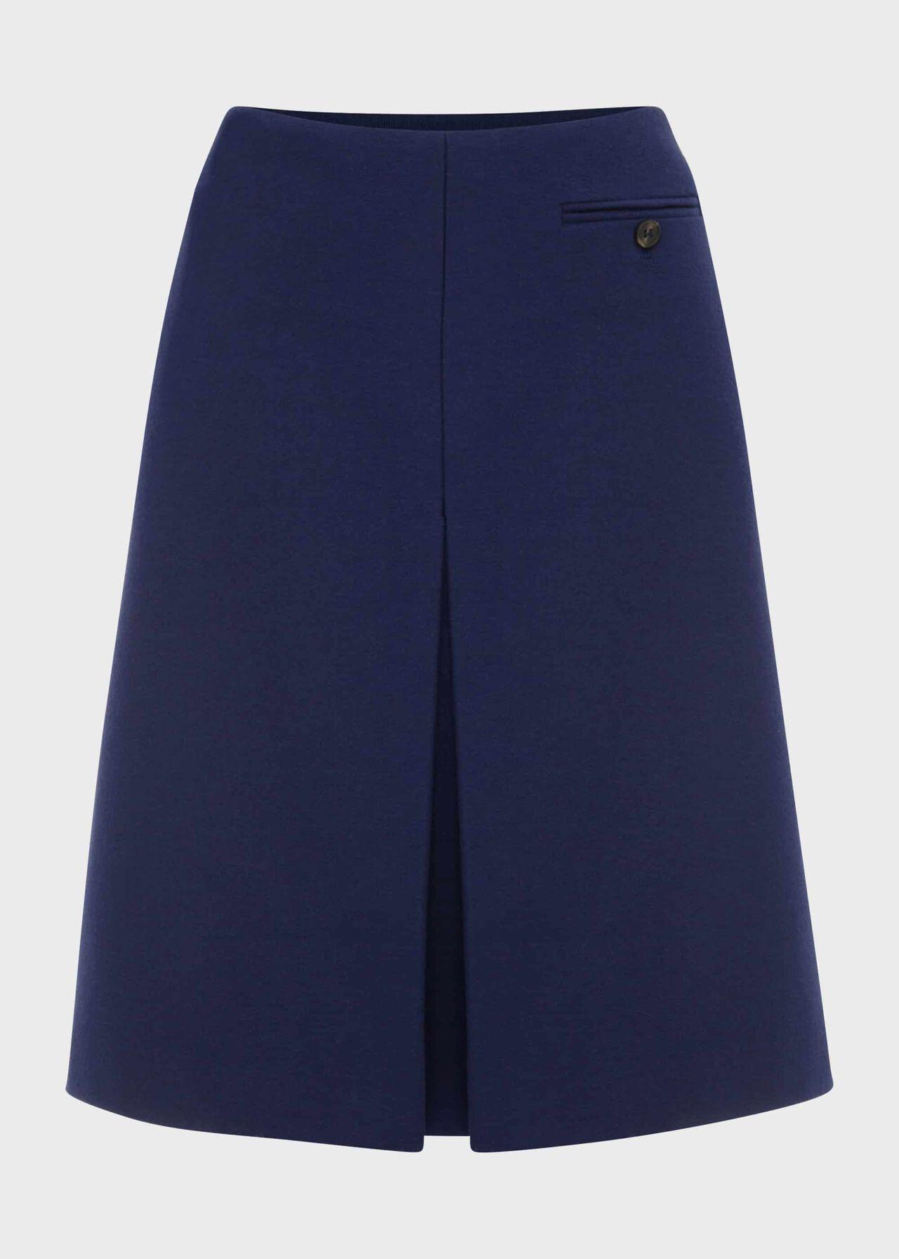Allegra Wool Cashmere A Line Skirt Ink