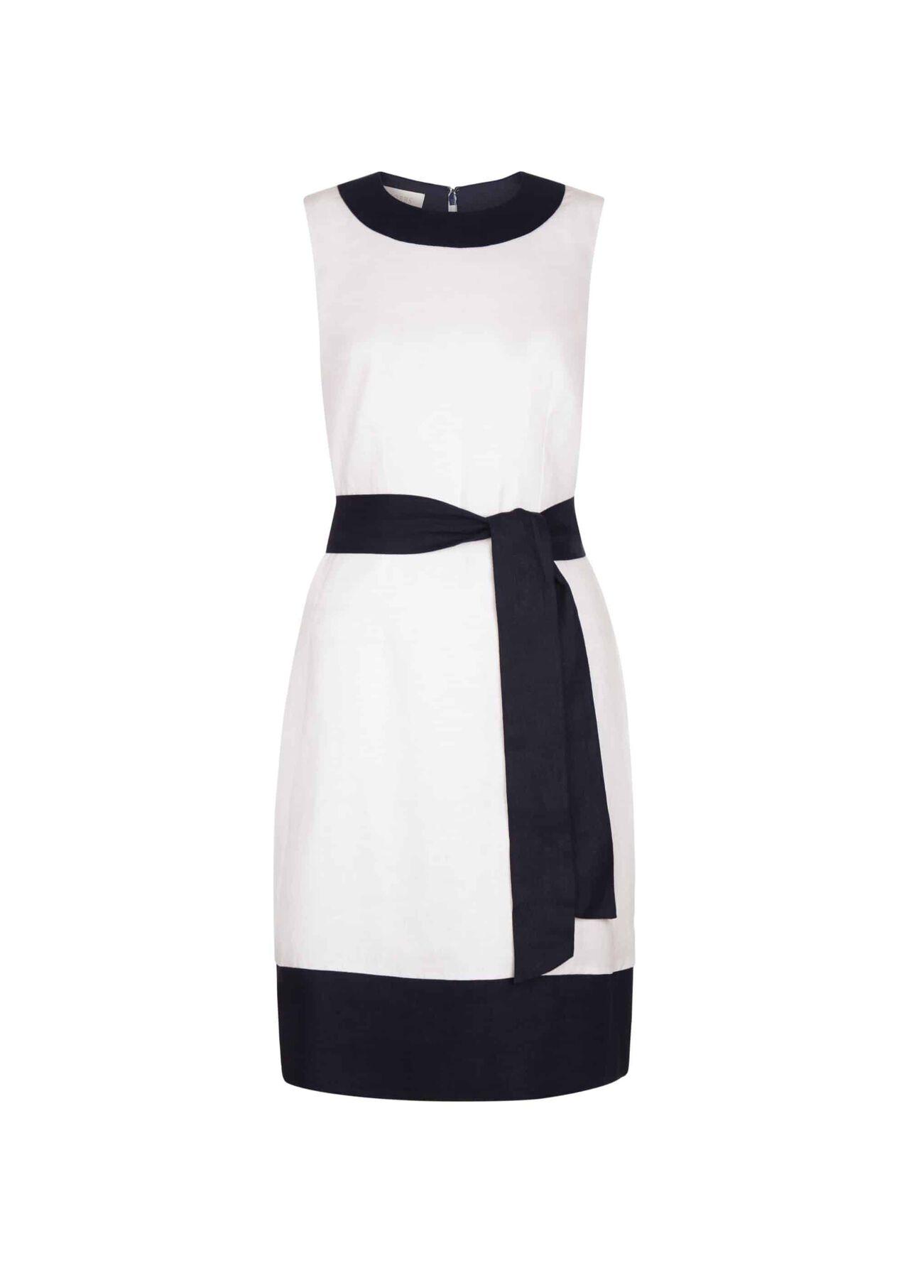 Amalfi Linen Dress White Navy