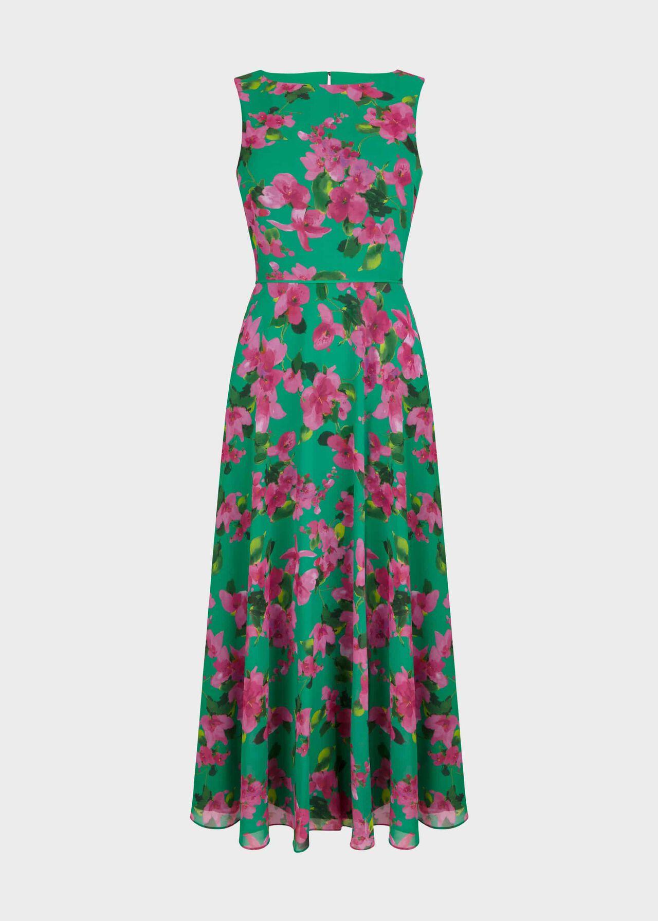 Petite Carly Dress Fld Grn Fschia