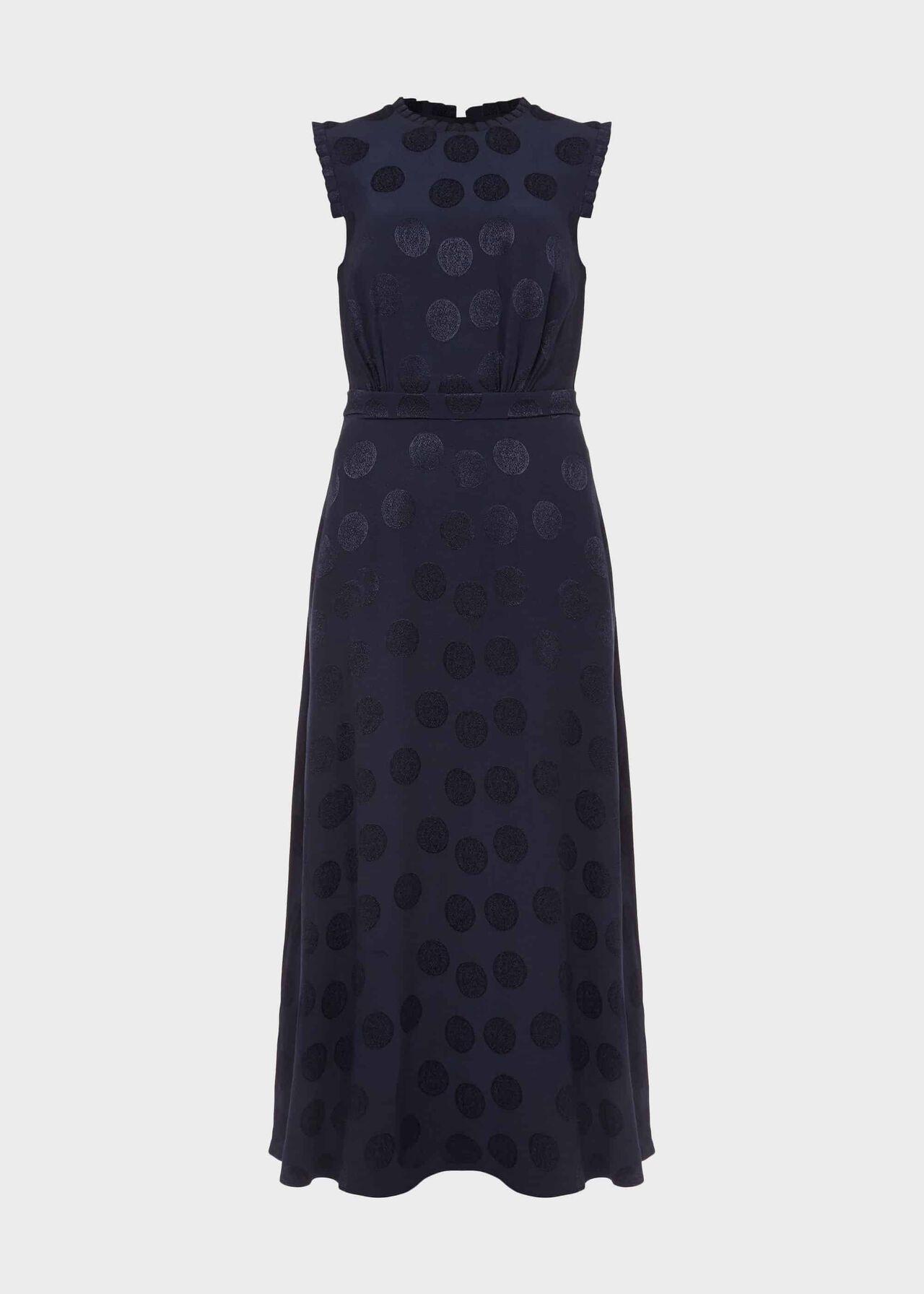 Ashley Jacquard Spot Dress Midnight