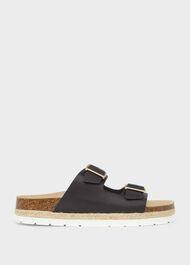 Ariel Leather Sandal, Navy, hi-res