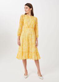 Lexi Jacquard Dress, Yellow Ivory, hi-res
